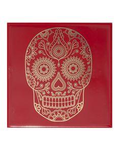 Image of Mexican Sugar Skull Tile - Frida Red