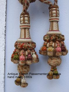 Antique French Tassels Tie Backs Hand made by JacquelineMcEwan