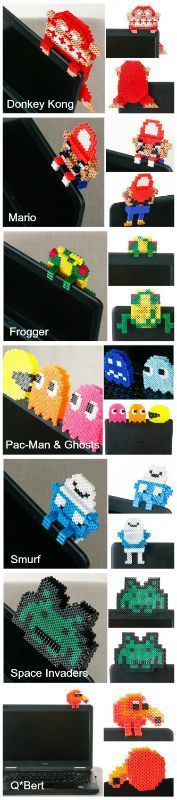 Free 8bit Perler Bead Patterns for 3D Vintage Video Game Characters!