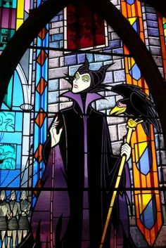 Maleficent stain glass panel