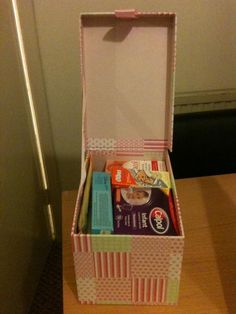 An emergency box, containing Baby wipes, Infant calpol, olbas oil, teething gel, disposable bibs, sudocrem and nipple cream (!). A (hopefully) useful present for a friend who is a new Mummy