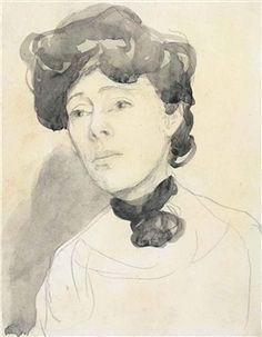 bofransson: John Gwen - Portrait of a Lady Maude. Gwen John, Mary John, Black White Art, Black And White Drawing, Figure Painting, Painting & Drawing, Painting Studio, Rodin Drawing, Drawing Studies