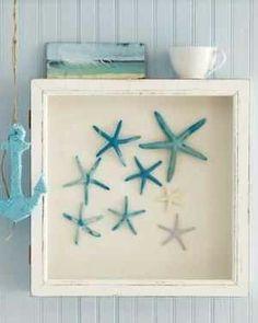 Shadow Box + Painted Starfish Shells = Easy Creative Coastal Wall Art