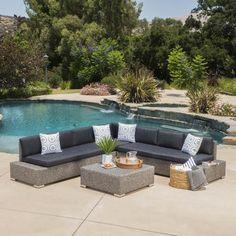 Pueblo Outdoor 7 Seat Wicker V Shaped Sectional Sofa w/ Water Resistan – GDF Studio