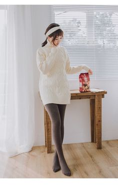 Aussie's media statistics and analytics Pantyhose Fashion, Pantyhose Outfits, Nylons, Grey Tights, Wool Tights, Thick Tights, Sweater Dress Outfit, Tights Outfit, Geek Chic Outfits