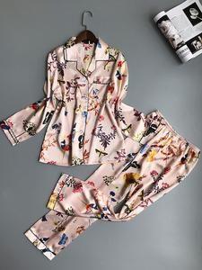 QWEEK Women Pajamas Satin Sleepwear Pijama Home Wear Silk Pyjama Home Suit Flower Print Sweet Cute Home Clothing Sleep Lounge Cute Sleepwear, Satin Sleepwear, Satin Pyjama Set, Loungewear, Cute Pajama Sets, Cute Pajamas, Silk Pajamas, Pyjamas, Pajamas For Teens