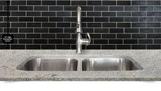 Black slate backsplash tile white kitchen cabinets and new caledonia granite design from Backsplash.com