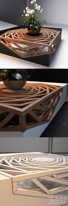 Richtig genialer Tisch. Das wird knifflig, den nachzubauen!
