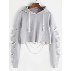 SheIn(sheinside) Drop Shoulder Ladder Cutout Sleeve Crop Hoodie ($17) ❤ liked on Polyvore featuring tops, hoodies, grey cropped hoodie, hooded sweatshirt, cropped tops, long sleeve hoodies and cropped pullover hoodie
