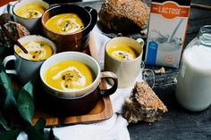 Roasted Chestnut, Carrot and Curry Soup made with Natrel Lactose Free.