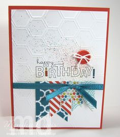 Stampin' Up! - Card 1 - Happy Birthday - Sycamore Street Designer Paper, Island Indigo Ribbon, Tangerine Tango button, Honeycomb Embossing Folder, Color Spritzer - Monika Davis