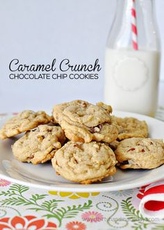 A twist on my very favorite cookies - Caramel Crunch Chocolate Chip Cookies. These have a crunch and a bite to them from caramel filled chocolate chips.