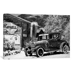 East Urban Home Classic Ford at U.S. Route 66 Fill-up Station I Photographic Print on Wrapped Canvas Size: