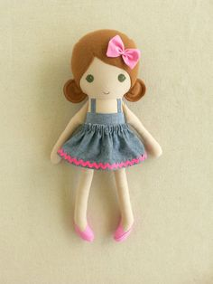 Fabric Doll Rag Doll Medium Brown Haired Girl in by rovingovine