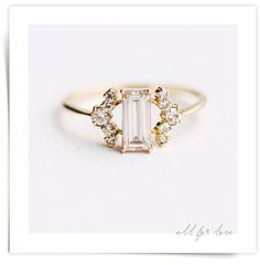 ALL FOR LOVE Pink Champagne Baguette Diamond Ring