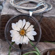 Necklace XXL with natural dried flower Z136 Romantic jewelry