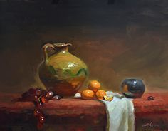 Old Pottery and Oranges by Kelli Folsom Oil ~ 11 x 14