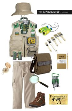 hat  /  vest   /  binoculars   /  paintbrushes   /  compass   /  cargo pants   /  messenger bag   /  notebook   /  magnifying glass   / ...