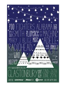A festival poster I did for a final class project. I chose Glastonbury as my theme. Content completely made up. So so happy with the way this turned out.