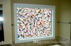3D Tree Branches Leaves Stained Glass Film Static Cling Window Film for Bathroom…