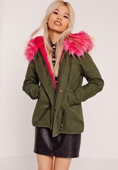 Missguided - Pink Faux Fur Hooded Parka Coat