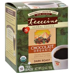 Teeccino Organic Tee Bags - Chocolate Herbal - 10 Bags - Convenient, individually-wrapped filter bags with 3 times more product than regular tea bags.Ingredients: Organic carob, organic barley, organic chicory, organic ramon nuts, natural chocolate flavor, organic cocoa, organic chile flakes. Organic: 95%+ Organic Gluten Free: No Dairy Free: Yes Yeast Free: Yes Wheat Free: No Vegan: Yes Kosher: No GMO Free: NA Summer Melt Risk? No Country Origin: NA Dimensions: 3.37 in. L x 3.37 in. W x 4.01…