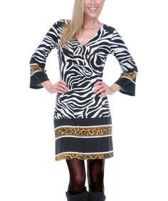 Loving this Black & White Jungle V-Neck Dress on #zulily! #zulilyfinds