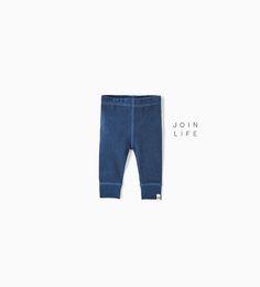 Image 1 of ORGANIC COTTON RIBBED LEGGINGS from Zara
