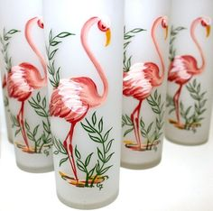 Vintage Pink Flamingo Glasses Hand Painted Set of 8 Mod Glamping