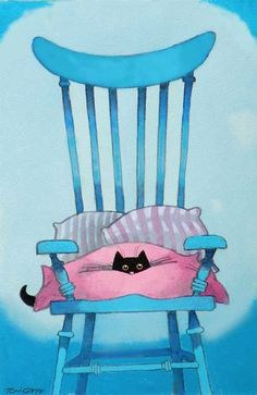Cute artwork of black kitty peeking out of pink blanket & pillows on turquoise chair