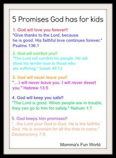 Momma's Fun World: Teaching the promises of God to Kids...Free poster size printable
