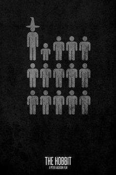 13 Savaşçı, 1 Buçukluk ve 1 Büyücü... İşte Hobbit'in minimalist bir posteri.  The Hobbit
