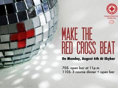 Make the Red Cross Beat, Fundraiser, The Lebanese Red Cross (Achrafieh sector) is hosting an unforgettable fundraising event, with music from the band '8eme Art' and Sky Bar's very own DJs....