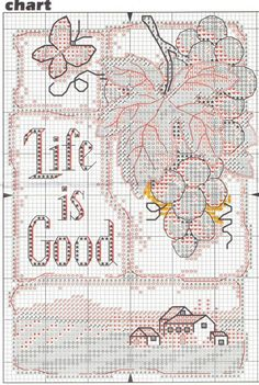 Cross-stitch Life is Good, part 2..  color chart on part 3