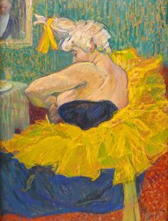 Art Let us celebrate the intimacy of Toulouse-Lautrec's work.Michela 'The Clowness Cha-U-Kao Fastening Her Bodice' by French painter& printmaker Henri de Toulouse-Lautrec Oil on cardboard. via the athenaeum Henri De Toulouse Lautrec, Vincent Van Gogh, Figure Painting, Painting & Drawing, Maurice Utrillo, Edgar Degas, Impressionism Art, Klimt, Claude Monet