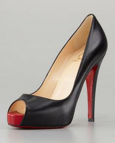 Christian Louboutin Very Prive Leather Platform Red Sole Pump, Black on shopstyle.com