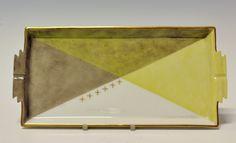 Tray by Nora Gulbrandsen (decor) and Thor Kielland (model) for Porsgrund Porselen. In production between 1927-1937 Model nr 1830. Decor nr 5839