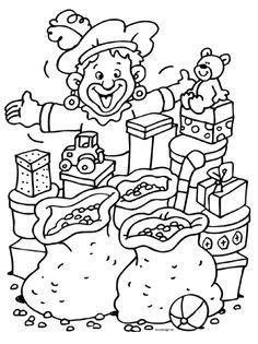 Piet met veel pakjes Coloring For Kids, Coloring Pages, Stencils, Clip Art, Printables, Drawing, Asana, School, Stage
