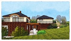 sketch of a family house Studios, Sketches, Mansions, House Styles, Pictures, Design, Home Decor, Mansion Houses, Room Decor