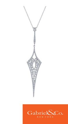 18k White Gold Diamond Fashion Necklace by Gabriel & Co. This extraordinary and unique piece has such amazing details and designs. Find your local Gabriel retailer at our website along with all of our other daring designs!