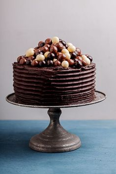 Dense, fudgy coffee chocolate cake with rich, dark chocolate and coffee frosting and chocolate malt balls.