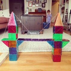 Magna-Tiles-Suspension-Bridge Toddler Fine Motor Activities, Indoor Activities, Kindergarten Activities, Preschool Activities, Magna Tiles, Magnetic Building Blocks, Art For Kids, Kids Fun, Suspension Bridge