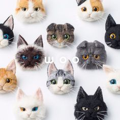 wooch 【made-to-order】 brooch Hayasaka Nobuya mail order Needle Felted Cat, Needle Felted Animals, Felt Animals, Cute Animals, Gato Garfield, Needle Felting Tutorials, Felt Cat, Felt Brooch, Needlepoint Kits