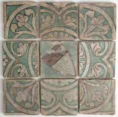 "Nine Tiles Date: 14th century Culture: French Medium: Earthenware, tin-glazed Dimensions: Overall (together with approx. 1/4"" between each): 13 3/4 x 13 3/4 x 13/16 in. (35 x 35 x 2.1 cm) individual tiles approx.: 4 11/16 x 4 11/16 x 13/16 in. (11.9 x 11.9 x 2.1 cm) Classification: Ceramics-Tiles Credit Line: Gift of Ruth Blumka, in honor of Justin Nasatir, 1994 Accession Number: 1994.404a-i"
