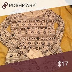 VS PINK printed waffle T A very comfy and cozy waffle long sleeve shirt PINK Victoria's Secret Tops Tees - Long Sleeve