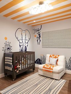 Animal style nursery with striped ceiling and orange-grey color combination