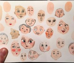 Ways to fill a sketchbook. I painted the heads with watercolor and used a sharpie to draw the faces. Art And Illustration, Art Sketches, Art Drawings, Drawing Faces, Arte Sketchbook, Sketchbook Inspiration, Art Graphique, Aesthetic Art, Aesthetic Drawing