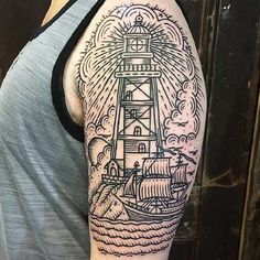 Home - Tattoo Spirit Future Tattoos, New Tattoos, Cool Tattoos, Traditional Lighthouse Tattoo, Traditional Tattoo, First Tattoo, Big Tattoo, Tattoo Ship, Snake Tattoo