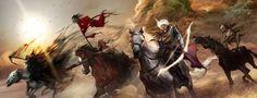 Representam algo Assim como na versão bíblica, os quatro Cavaleiros do Apocalipse são descrições simbólicas de eventos diferentes que acontecerão durante o fim dos tempos. O primeiro cavaleiro é mencionado em Apocalipse 6:2, e representa a Morte. O segundo cavaleiro é mencionado em Apocalipse 6:4, e representa a Guerra. O terceiro cavaleiro do apocalipse mencionado em Apocalipse 6:6 se refere à Fome. O quarto cavaleiro é mencionado em Apocalipse 6:8, e representa a Peste.