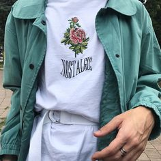 UO Nostalgic Rose White Embroidered T-shirt | Urban Outfitters | Men's | Tops | Graphic Tees via @___yinyang___ #UOEurope #UrbanOutfittersEU #UOMens #UOonYou